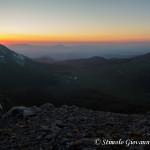 Tramonto dietro la vetta di Monte Pollino