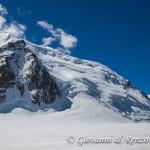 La spalla Nord del Mont Blanc du Tacul dove si svolgerà la prima parte di salita al Bianco