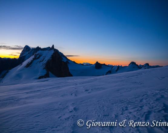 La Vallée Blanche all'alba