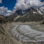 Il Glacier du Tacul che confluisce nella Mer de Glace