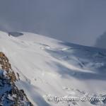 La traccia sulla spalla Nord del Mont Blanc du Tacul