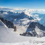 Panorama scendendo dalla cima del Monte Bianco